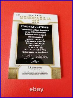 MICKEY MANTLE YOGI BERRA REGGIE MUNSON Derek Jeter JERSEY CARD #d8/12 2019 LEAF