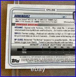MINT 2020 Bowman Chrome JASSON DOMINGUEZ AUTOGRAPH PURPLE REF ROOKIE /250 AUTO