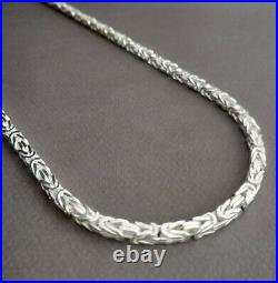 Mens King Chain Viking Necklace 5mm 93GR 28 Inch 925 Sterling Silver Handcrafted