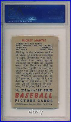 Mickey Mantle 1951 Bowman 253 Rookie Card PSA 3 Centered RC