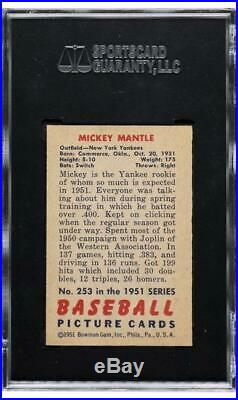 Mickey Mantle 1951 Bowman RC High Grade Rookie SGC 7.5! Centered & Clean