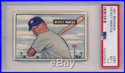 Mickey Mantle 1951 Bowman RC Rookie # 253 PSA 5.5 HE Centered Best on Ebay