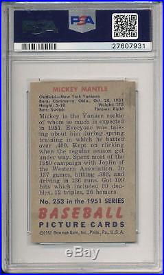 Mickey Mantle 1951 Bowman ROOKIE CARD! # 253 Solid Investment RC PSA 5