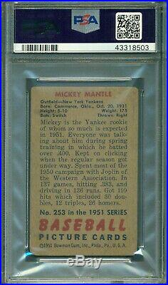 Mickey Mantle 1951 Bowman Rookie #253 PSA 1.5 Very Nice PSA Example