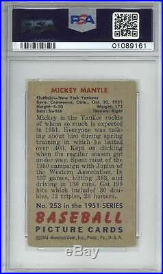 Mickey Mantle 1951 Bowman Rookie #253 PSA 4