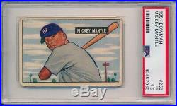 Mickey Mantle 1951 Bowman Rookie Card # 253 RC PSA 1.5 Incredible for grade
