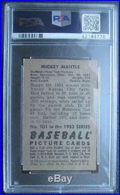 Mickey Mantle 1952 Bowman #101 PSA 5.5 EX+ High End NO Stains/Nicely Centered