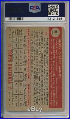 Mickey Mantle 1952 Topps # 311 PSA 1.5 Beautiful Card, Great investment