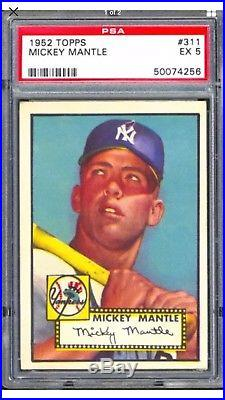 Mickey Mantle 1952 Topps #311 Rc New York Yankees Psa 5 Excellent