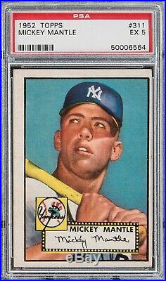 Mickey Mantle 1952 Topps Baseball Rookie Card #311 PSA Graded EX 5