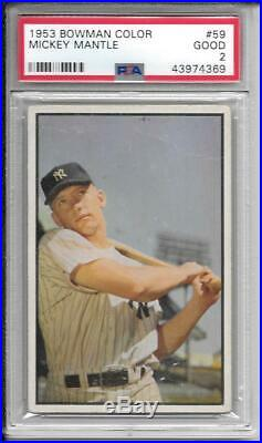 Mickey Mantle 1953 Bowman Color Psa 2! Centered/bueaty! Mantles Rising