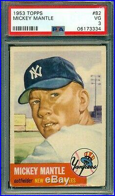 Mickey Mantle 1953 Topps #82 PSA 3 Short Print Great Eye Appeal / Centered