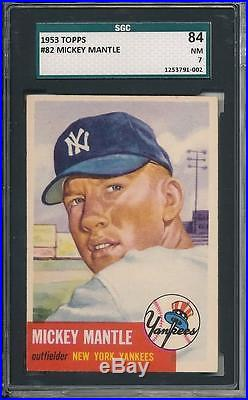 Mickey Mantle 1953 Topps # 82 SGC 84 7! Clean as PSA or better