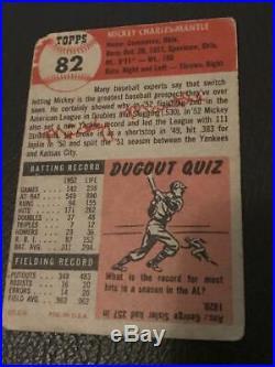 Mickey Mantle 1953 Topps Baseball Card #82 New York Yankees Psa 1 Pr