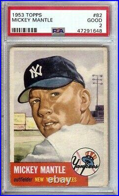 Mickey Mantle 1953 Topps Baseball Card Graded PSA 2 Good New York Yankees #82