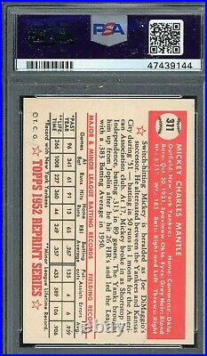 Mickey Mantle 1983 Topps 1952 Baseball Card #311 Graded PSA 7 NEAR MINT