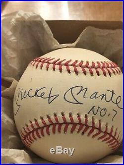 Mickey Mantle Autographed Baseball On Rawlings American League B. B