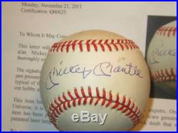 Mickey Mantle Autographed Major League Bobby Brown Baseball PSA COA NY Yankees
