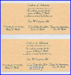 Mickey Mantle Autographed Set Four M Enterprises/jsa/bgs Graded & Authenticated