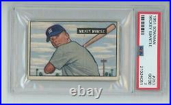 Mickey Mantle Rc 1951 Bowman #253 Rookie New York Yankees Graded Psa 2 Good