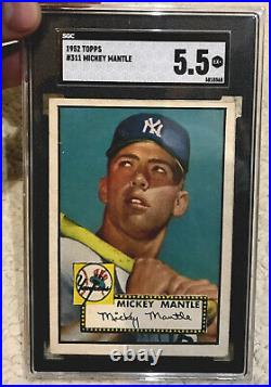 Mickey Mantle Rookie Card 1952 Topps #311 Excellent RC Centered! Type 2. SGC 1/1