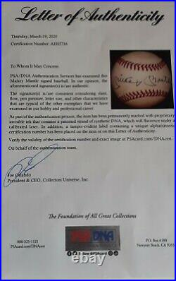 Mickey Mantle Signed OAL Bobby Brown Baseball LOA PSA/DNA Autographed Yankees