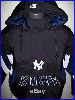 NEW YORK YANKEES Starter Hooded Half Zip Pullover Jacket S M L XL 2X BLACK