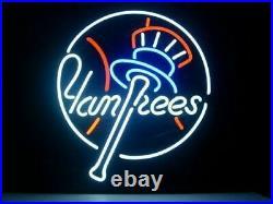 New York Yankees Baseball Neon Light Sign 17x14 Beer Lamp Real Glass Decor Bar