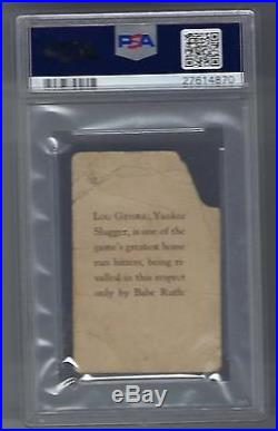 New York Yankees Lou Gehrig 1929 Star Player Candy #32 PSA 1 Only 5 Total POP