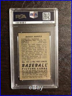 New York Yankees Mickey Mantle 1952 Bowman #101 PSA VG-EX 4