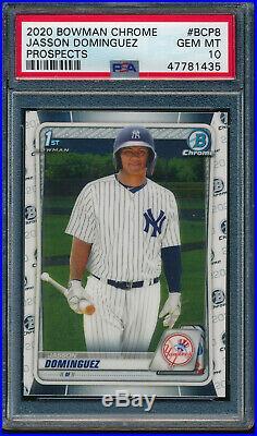 PSA 10 JASSON DOMINGUEZ 1st 2020 Bowman Chrome Yankees Rookie Card RC GEM MINT