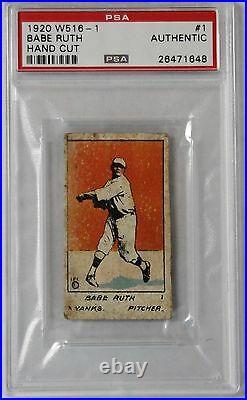 Pre-war Card 1920 W516-1 #1 Babe Ruth Hand Cut New York Yankees Psa Authentic