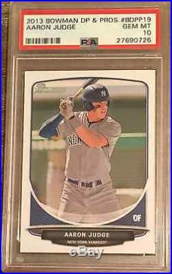 Psa 10 Aaron Judge 2013 Bowman Draft Picks Yankees Rookie Card Rc Gem Mint Qty