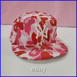 RARE Bape x New Era New York Yankees 7 1/4 Pink ABC Camo Fitted Cap
