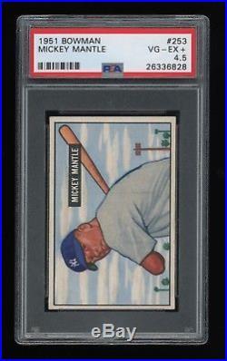 STUNNING! 1951 Bowman #253 Mickey Mantle RC PSA 4.5 VG-EX+ Yankees Rookie Hi End