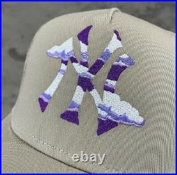 Shmeel NYC Cloudy NY Logo Hat Beige Tan Purple White NY Yankees OS New DS