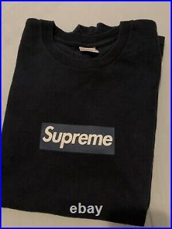 Supreme New York Yankees Box Logo Bogo Tshirt Navy Blue Size Medium