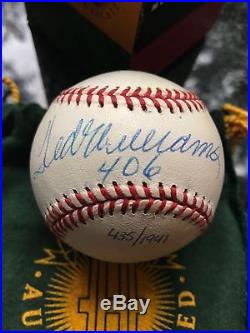 Ted Williams Signed / Autographed Baseball UDA Upper Deck Inscribed 406 Auto