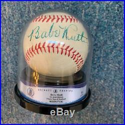 The Finest Babe Ruth Single Signed Baseball Beckett Graded MINT 9 JSA COA
