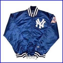 Vtg Rare MLB New York Yankees Starter Satin Bomber Jacket. Mens Large